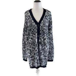 Ann Taylor Med Black Gray Cheetah Fuzzy Cardigan